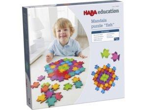 Puzzle tip Mandala - Pestisorii colorati - Joc asociere si potrivire - Haba Education