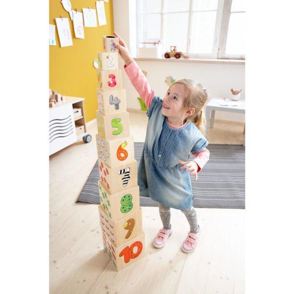 Turnul multimilor - Turn de stivuit din lemn - numarare - adunare - Seria Willy in lumea numerelor - Haba Education prin Didactopia