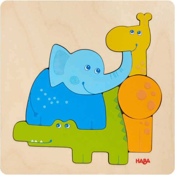 Animale din Zoo - Puzzle din lemn - Copii mici - HABA prin Didactopia