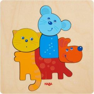 Puzzle din lemn - Bebe - Animale de companie - HABA prin Didactopia