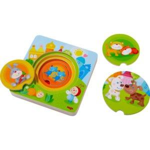 Animale colorate - Puzzle rotund din lemn in 6 straturi - Copii mici. HABA prin Didactopia 01