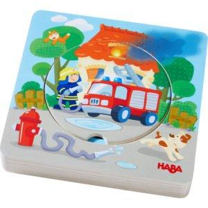Puzzle rotund din lemn in 6 straturi - Pompieri - Copii mici. HABA prin Didactopia
