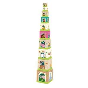 Turnul animalelor. La fermă - Stapelwurfel. Auf dem Land - Turn de stivuit din carton - Numărare, adunare. HABA in Didactopia 01