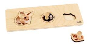 Toddler Puzzle: 3 Rodents-produs original Nienhuis Montessori-prin Didactopia by Evertoys