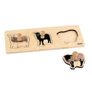 Toddler Puzzle: 3 Sheep-produs original Nienhuis Montessori-prin Didactopia by Evertoys
