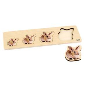 Toddler Puzzle: 4 Rabbits-produs original Nienhuis Montessori-prin Didactopia by Evertoys
