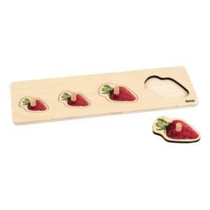 Toddler Puzzle: 4 Strawberries-produs original Nienhuis Montessori-prin Didactopia by Evertoys