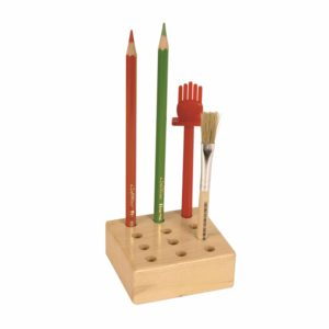 12 Hole Storage Block: For Pencils And Glue Brushes-Educo-prin Didactopia by Evertoys