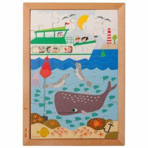În mare - Colecția - Deasupra și dedesubt - puzzle educativ din lemn - Educo by Didactopia 2