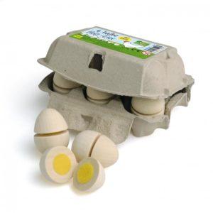 Carton cu 6 ouă albe- Set feliere - Set alimente lemn de jucărie pentru copii - Erzi Germania 1
