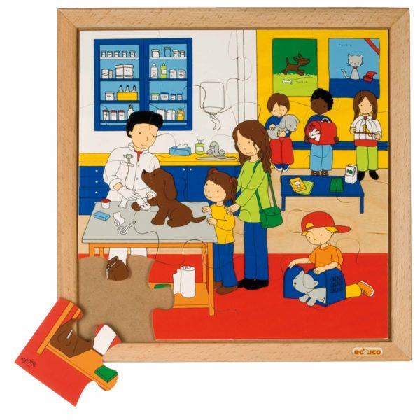 La veterinar - Colecția - Sănătate - Puzzle educativ din lemn - Educo by Didactopia