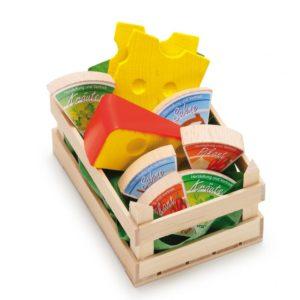 Lădiță mică cu brânzeturi asortate - Set alimente lemn de jucărie pentru copii - Erzi Germania 1