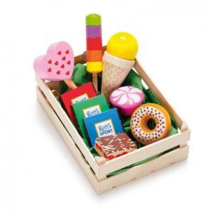 Lădiță mică cu dulciuri asortate din lemn - Set alimente lemn de jucărie pentru copii - Erzi Germania 1