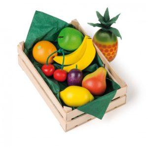 Lădiță mică cu fructe asortate - Set alimente lemn de jucărie pentru copii - Erzi Germania 1