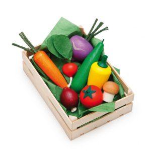 Lădiță mică cu legume asortate - Set alimente lemn de jucărie pentru copii - Erzi Germania 1