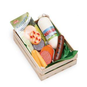 Lădiță mică cu mezeluri asortate - Set alimente lemn de jucărie pentru copii - Erzi Germania 1