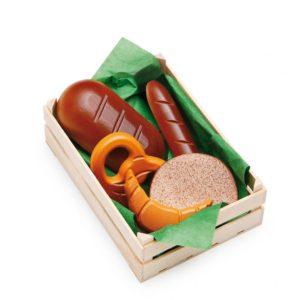 Lădiță mică cu produse de panificație asortată - Set alimente lemn de jucărie pentru copii - Erzi Germania 1