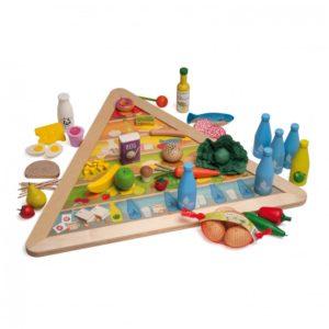 Piramida Nutrițională - Set alimente lemn de jucărie pentru copii - Erzi Germania 1
