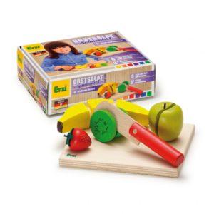 Set alimente lemn de jucărie pentru copii - Set feliere - Salată de fructe - Erzi Germania 1