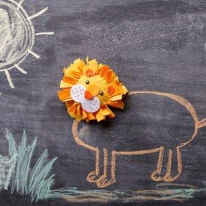Leul din fetru - Set creativ copii - Bricolaj - Înnodare legare lipire - Haba Sachenmacher Didactopia 2