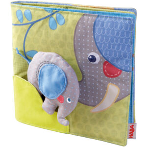 Elefantul cel pufos - Carte senzoriala textila bebe - Dezvoltare senzoriala - Original HABA in Romania prin Didactopia