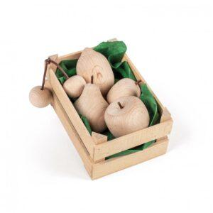 Lădiță mică cu fructe din lemn natur - Set alimente lemn de jucărie pentru copii - Erzi by Didactopia