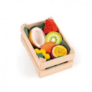 Lădiță mică cu fructe tropicale din lemn - Set alimente lemn de jucărie pentru copii - Erzi by Didactopia