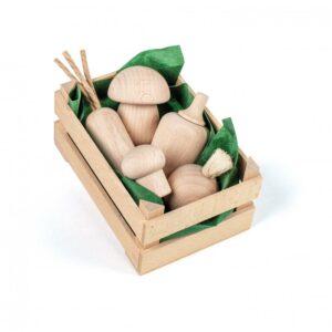 Lădiță mică cu legume din lemn natur - Set alimente lemn de jucărie pentru copii - Erzi by Didactopia