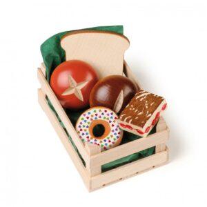 Lădiță mică cu produse de patiserie asortată - Set alimente lemn de jucărie pentru copii - Erzi by Didactopia
