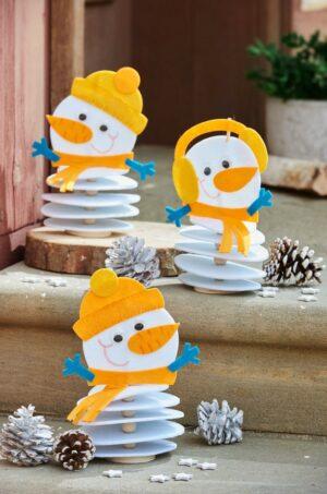 Oameni de zăpadă din fetru - Set creativ copii - Bricolaj - Fălţuire, înşirare - Haba prin Didactopia 1
