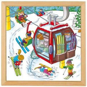 Vacanța de iarnă - Colecția Sporturi de iarnă - Puzzle educativ din lemn - Educo prin Didacopia