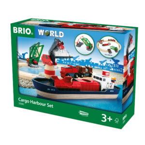 SET PORT CU NAVA DE MARFA-Trenulet Lemn original BRIO-BRIO33061